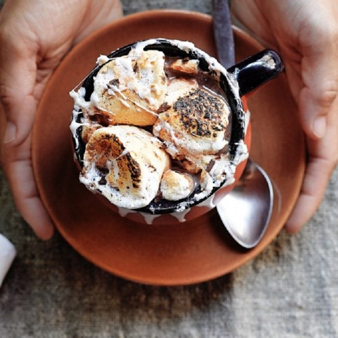 spicy Mexican hot chocolate with toasted marshmallows